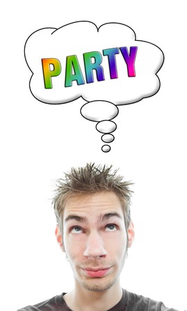 Young white Caucasian male adult thinks about planning a party in a think bubble isolated on white background Stock Photo - 8139101
