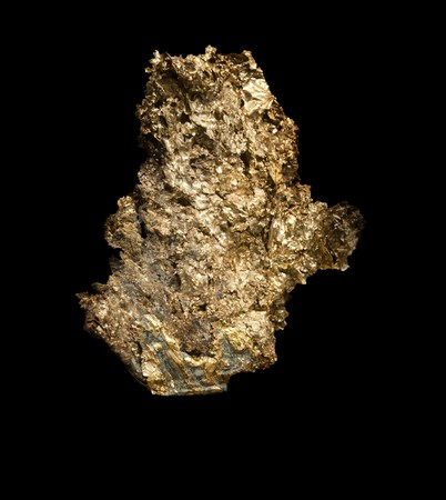 nugget: A very large gold nugget peice isolated on black background Stock Photo