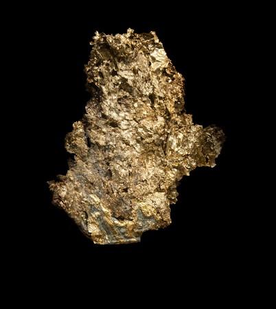 Eine sehr große gold Nugget Peice isolated on black background Standard-Bild