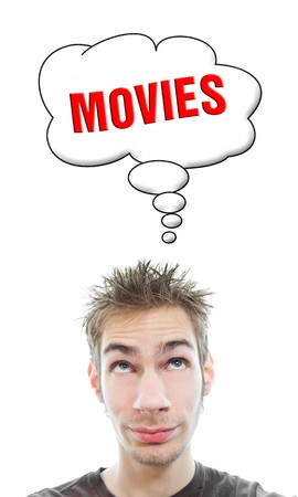 Young white Caucasian male adult thinks about going to the movie theater in his think bubble isolated on white background Stock Photo - 8282676