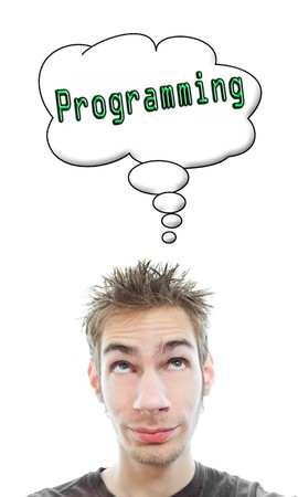 Young white Caucasian male adult thinks about computer programming in his think bubble isolated on white background Stock Photo - 8282679