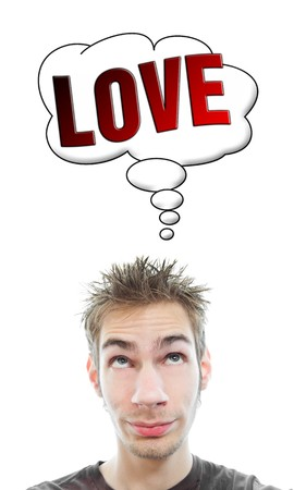 Young white Caucasian male adult thinks about love in his think bubble isolated on white background Stock Photo - 8282677
