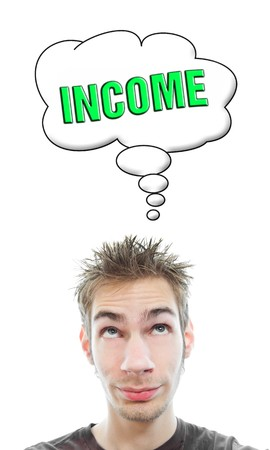 Young white Caucasian male adult thinks about getting more income from his business in a think bubble isolated on white background Stock Photo - 8282678