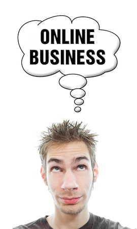 Young white Caucasian male adult thinks about starting his on Online Business in a think bubble isolated on white background Stock Photo - 8301210