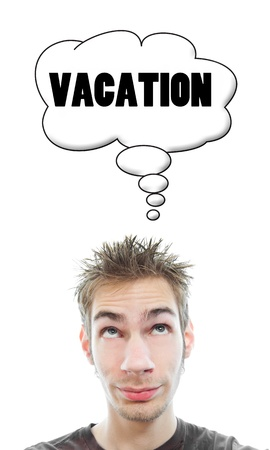 Young white Caucasian male adult thinks about taking a vacation in his think bubble isolated on white background Stock Photo - 8301208