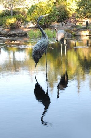 A metal crane bird statue acting as a garden pond ornament decoration photo