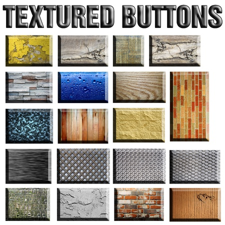 Set of 3D textured buttons isolated on white. Variety of cement, wood, marble, water, plaster, glass, brick, and grunge patterns are included. Stock Photo - 8307558