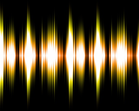 Gold and yellow audio soundwaves illustration on black background.