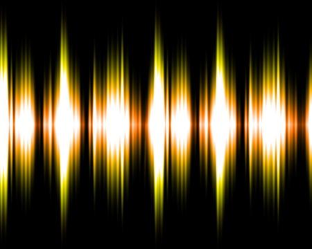 audio: Gold and yellow audio soundwaves illustration on black background.