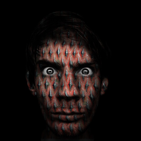 photomanipulation: Man with serious dark stare and metal texture on his face. Stock Photo