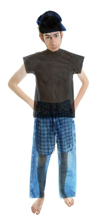 boy underwear: A young white Caucasian adult wearing underwear isolated on white wearing see-through clothing.