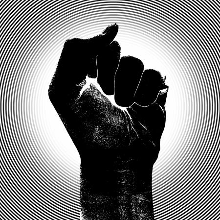 Black fist raising his clenched fist with a bar code printed on his wrist.