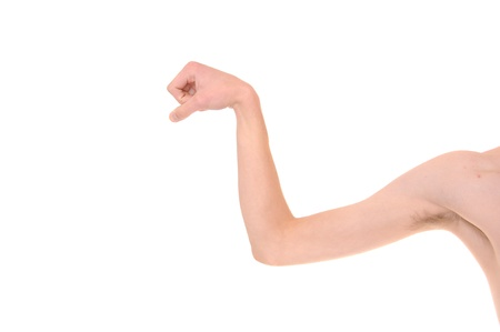 тощий: Weak White Caucasian skinny arm trying to flex his muscles. Isolated on white.