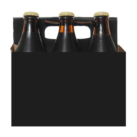 Six pack cardboard carton with dark beer bottles isolated on white background