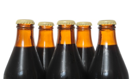 schwarzbier: Dunkles Bier-Flaschen isolated on white background Lizenzfreie Bilder