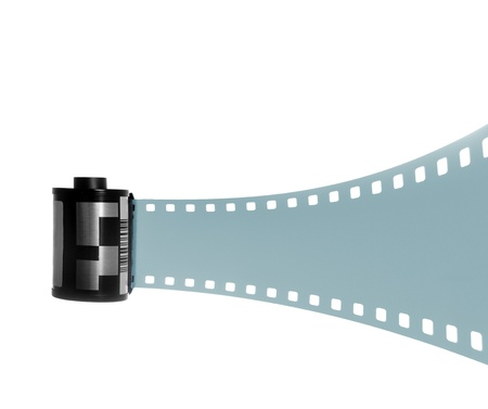 35mm filmstrip fused for black and white photography. Isolated on white background. photo