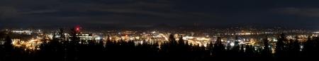 City skyline panorama taken at night in Eugene, Oregon.