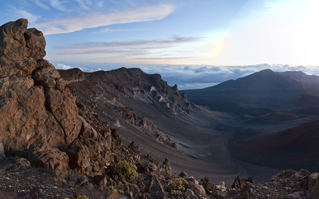Haleakala National Park Volcanic Mountain located in Maui, Hawaii. Photograph taken at sunrise. photo