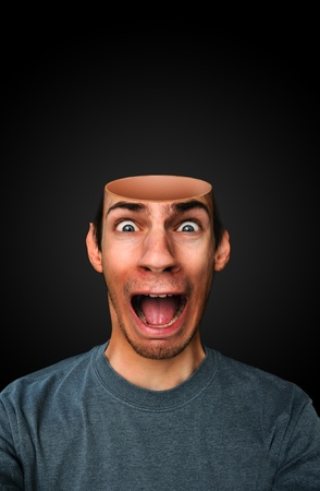 A man with a mindless brainless empty open head screaming Stock Photo - 9460086