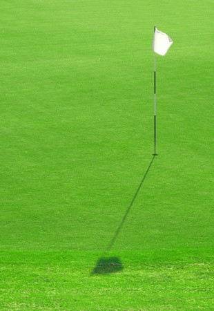 white golf hole flag on the green grass Stock Photo - 9630802