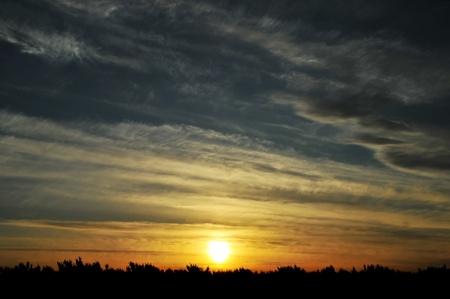 seasonic: Sun setting over the silhouette horizon