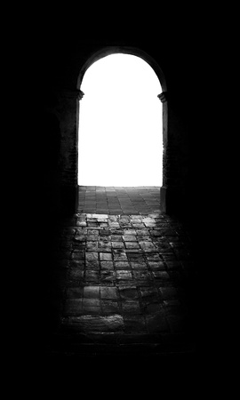An arched open door way leading into a white abyss with light shining through onto the dark bricks below