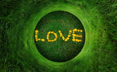 Circular grass pattern wrapped around the word Love made from yellow dandelion flower photo