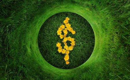 Circular grass pattern wrapped around the dollar symbol made up of yellow dandelion flower