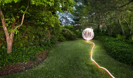 A light garden orb sphere in an oregon green garden yard Stock Photo - 11960569