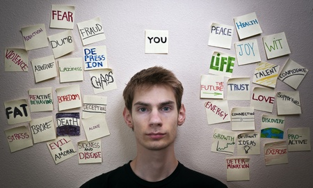 Self reliant independent young adult male is faced with choices that will change and affect his life, and the lives around him in the world.  Stock Photo