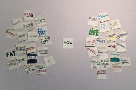 추상적 인 개념 보여주는의 긍정과 부정적인 감정, 특성 및 작업. 스톡 콘텐츠