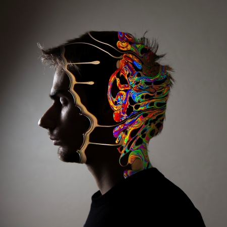 voids: Conceptual side profile of a human face, with see through illustration of the brain.