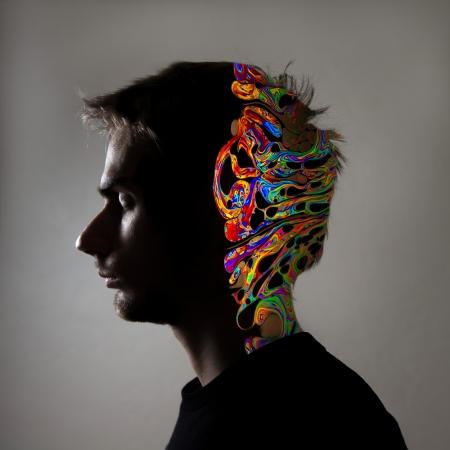 人間の顔のプロフィールの側面し、脳の図を参照してください。