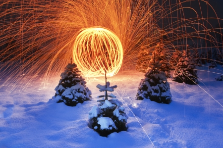 halogen lighting: Simply stunning display of lighting in the night on snowy landscape with Christmas trees around.