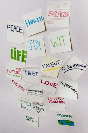positive thought: Positive sticky notes - Health, peace, exercise, joy, wit, life, the future, trust, talent, confidence, energy, connection, love, supportive, growth, determination, growth, proactive, discovery