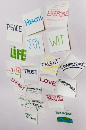 honestidad: Positivos notas adhesivas - Salud, paz, el ejercicio, la alegría, el ingenio, la vida, el futuro, la confianza, el talento, la confianza, la energía, conexión, amor, apoyo, crecimiento, determinación, crecimiento, proactivo, descubrimiento