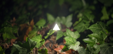 Concept image of a glowing white triangle surrounded by vegetation. Abstract of new age spirituality.
