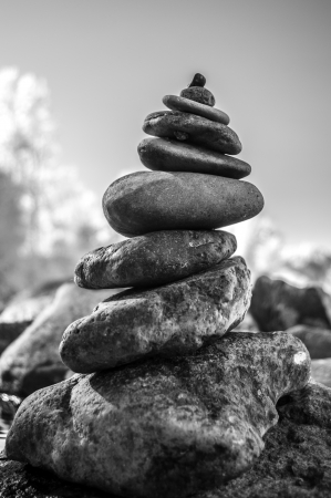 Balanced stacking of rocks. Can be a symbol for  meditation, spirituality and patience.