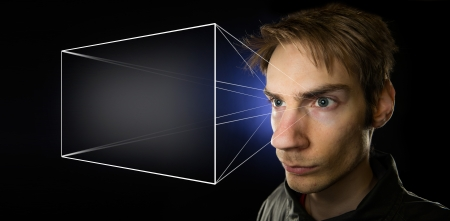 projection: Image illustrating the holographic universe theory of reality, with a man projecting his mental screen, giving him the illusion of objective reality. Stock Photo