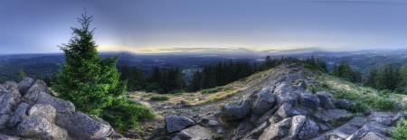 HDR 파노라마 산의 정상에서 찍은. 비스가 산, 유진, 오레곤, 미국.