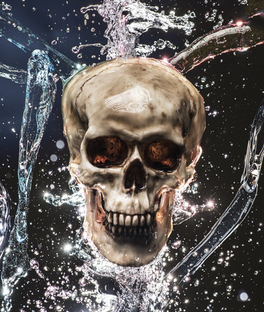 eye socket: Skull with blue and red water splashing onto it Stock Photo