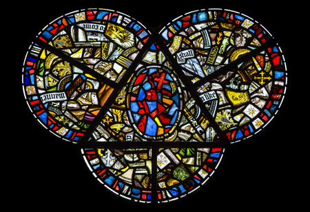 Stained glass window isolated over a black background Stock Photo