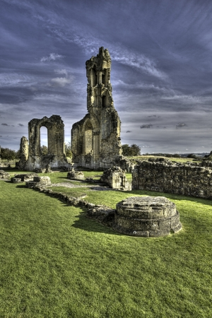north yorkshire: Byland Abbey is an ancient medieval Cistercian monastery now in ruins located in North Yorkshire, England. Stock Photo