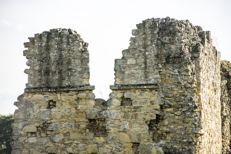 decadence: Details of ancient ruins isolated over a white sky Stock Photo