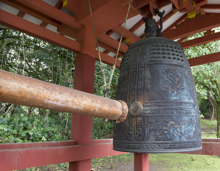 buddhist structures: Bon-sho Sacred Bell at Buddhist Byodo-In Temple in Oahu Hawaii Stock Photo