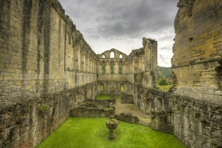 roofless: Old ruins of Rievaulx Abbey falling apart