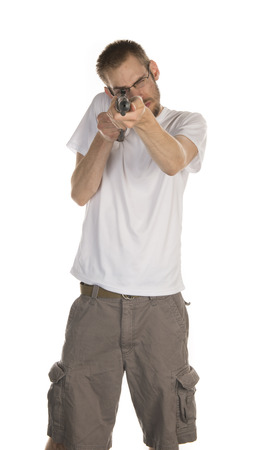 standoff: White male holding a rifle gun isolated on white background
