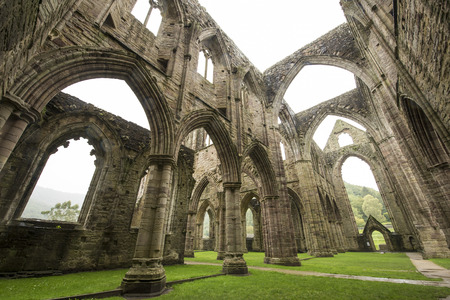 abbey ruins abbey: Outdoor ruins of Tintern Abbey which is located in Wales UK