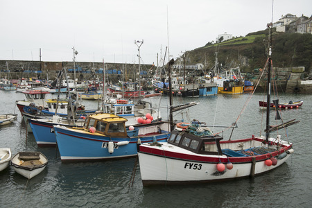 small boat: Harbour with boats in Mevagissey, Cornwall, UK