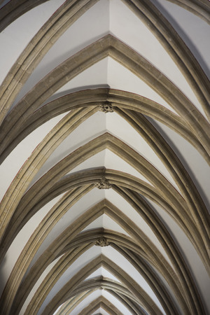 archways: Archways on the ceiling architecture in Wells Cathedral, Somerset, England Editorial
